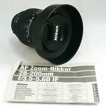 Nikon Nikkor AF 28-200mm D 3.5-5.6 paraluce originale,tappi,imballi,istruzioni
