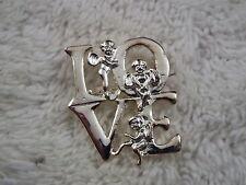 Silvertone Angel Cherub LOVE Pin (C35)