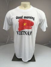 Vtg 80s Good Morning Vietnam Flag Crewneck Tshirt Xlarge Xl White Robin Williams