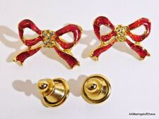 """2 - Gold Tone Christmas Holiday Red Pin or Tie Pin 1"""" w/ Chrystal accents"""
