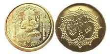 Yantra Coin Hindu Gold Ganesha Om Ganesh Shri Shree Yantram Luck Charged