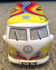 Vw Splitscreen Money Box offic.Licensed Yellow camper van personalised plate