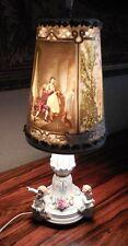 Pair Antique Von Schierholz Cherub Putti Figural Lamp w/ Lithophane Shades