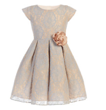 Girls Blue Champagne Vintage Lace Dress Size 6 Party Wedding Christmas Holidays