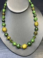 Vintage 1950s beaded Green Ceramic Lucite  Necklace Hook Clasp Double Strand