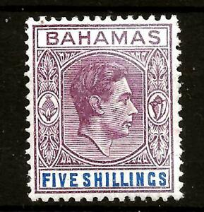 BAHAMAS  (313) 1946-5/- SG156c  DULL MAUVE-DEEP -BLUE  MM /MH SEE 2 SCANS