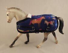Handmade fleece rug blanket fit 1:12 Classic Breyer toy horse blue pony