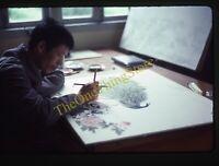Asian Artist Painting Drawing 1980s 35mm Slide Vtg Art Peacock Kodachrome