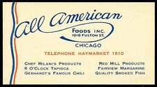USA Poster Stamp - Advertisement for All American Foods, Chicago, Illionois