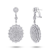 5.64 CT 18K White Gold Natural Round Cut Real Diamond Dangle Drop Oval Earrings