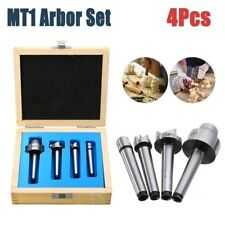 4Pcs/Set MT1 Wood Lathe Turning Live Center + Drive Spur Cup Arbor + Wooden Case