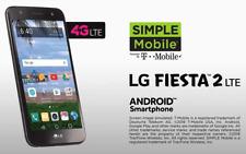 """LG Fiesta 2 4G LTE Prepaid Smartphone 5.5"""" Screen 13 MP cam Simple Mobile"""