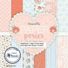 Paper POSIES Dovecraft 6 x 6 Sample Paper Pack 1 of each design 150gsm 12 Sheets