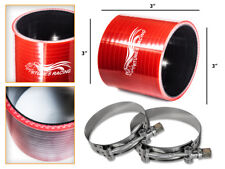 """RED Silicone Coupler Hose 3.0"""" 76 mm + T-Bolt Clamps Air Intake Intercooler MZ"""