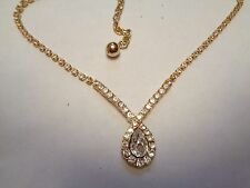 Vintage TRIFARI  Teardrop Clear Rhinestone Beaded  Drop  Pendant Necklace