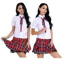 Sexy Women Girl School Uniform Top Outfit Plaid Skirt Cosplay Halloween Costume