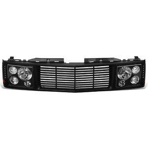Fit 94-00 Chevy GMC C/K 1500 2500 3500 Headlights + Front Bumper Grille Black