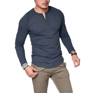 Mens Casual Long Sleeve V Neck T-Shirt Henley Grandad Collarless Muscle Tee Tops