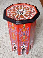 UNIQUE HAND PAINTED MOROCCAN TALL OCTAGONAL  LAMP TABLE RED