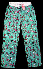 NWT PARIS EIFFEL TOWER GEO WOMENS PAJAMA SLEEP PANTS LOUNGERS TURQUOISE PINK M