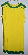 Vintage 1960/70's PARKSHIRE ORIGINAL Yellow Green Mod Linen Button Dress Medium
