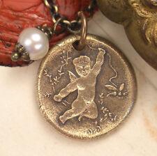 Eros & Psyche True Love Cupid Butterfly Bronze Charm Necklace Wax Seal Jewelry