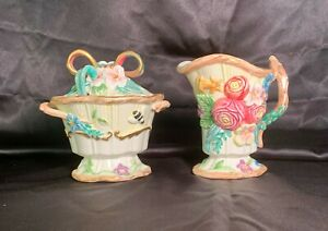 Fitz and Floyd Sugar Bowl with lid & spoon plus Creamer, Flowers & Butterflies