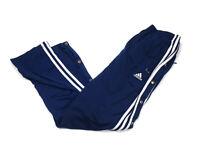 adidas Navy Blue Warm-Up Breakaway Pants Snap Button Leg 3-Stripe Men's M