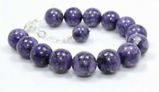 "Natural Rare Sugilite Bracelet 925 Sterling Silver 12 MM 8""+1"" Gemstone Gift 48"