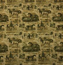 "WAVERLY POLO PROMENADE LODEN Dark Green Horses Toile Fabric BY THE YARD 54""W"