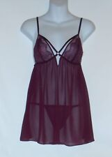 Victoria's Secret Sheer Chiffon & Lace Babydoll Set Maroon Large (L) NWT