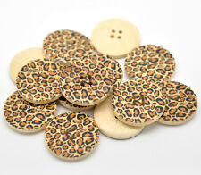 (7) 5 Stück Knöpfe Holz 30 mm 3 cm Leopard Deko Jacke Mantel Scrapbooking