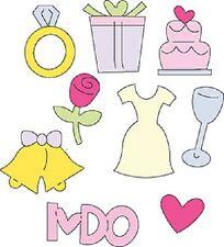 Cuttlebug Metal Die Cut Charm Gift Tag Card Wedding 3x3 Dress cake ring I Do