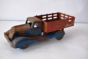 Antico Giocattolo Camion Metallo Pressofuso Paletti Consegna Pressato Acciaio