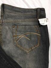 Gitano Jeans Womens Size 24W Black Gray Distressed Bootcut Stretch Denim NWT