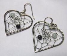 """Dreamcatcher Heart Bead Dangle Earrings Southwestern 1 3/4"""" Sterling Silver"""