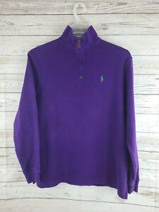 Polo Ralph Lauren Purple 1/2 Half Zip Sweatshirt Men's M Green Pony NWOT