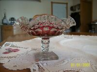 Westmoreland Cranberry Diamond Cut Tumble Print Ruffled Stemmed Dish Compote