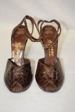 "Vintage Brown Leather COPA ""Croc"" Pattern Peep Toe Hollywood Heels Size 6.5-B55"