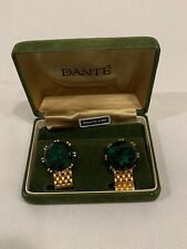 vintage dante Green Sapphire/Stone/crystal Good Color cufflinks W14