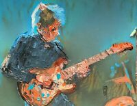 Abstract Portrait Eric Johnson Guitarist Guitar Wall Art Original Painting 11x14
