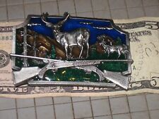 Collect Buckles Deer Rifle NRA Wildlife 3D Elk Moose Rack Point Pewter Enameled