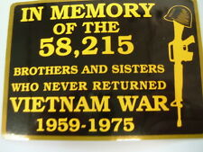 """Decal """"IN MEMORY - 1957-1975 - VIETNAM WAR"""" Decal yellow, size 3"""" x 4"""",  #FL1182"""
