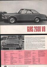 N°4472  /  GLAS  2600 V8  : prospectus d'epoque deutch text