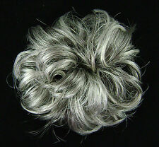 """Ponytail Extension 3"""" Scrunchie Synthetic Wrap Elastic 44/51 Dark Brown Gray Mix"""