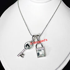 "14k White Gold EP Lock & Key Pendant &17½"" Chain Necklace New Ladies"