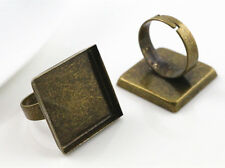 5pcs Antique Bronze Square Adjustable Ring Blank/Base | Fit 20mm Cabochons