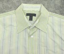 EXPRESS Design Studio MODERN FIT Dress Shirt XL White Yellow Striped French Cuff
