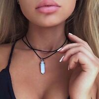 Leather Choker Necklace Opal Pendant Boho Vintage Hippy Retro Black Double Cord