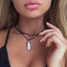 Leather Choker Necklace Opal Pendant Boho Vintage Hippy Retro Black Double Cord